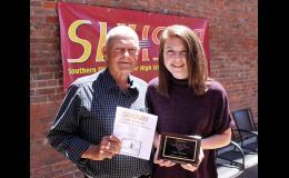 Jim Burnes and Jonesboro Elementary School student Jaley Watkins. Photo provided.