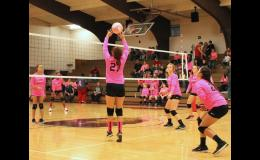 Century's Sidney Gotway set up the ball for a spike during the pink-out volleyball game. Century defeated Egyptian. Photo by Lindsey Rae Vaughn.