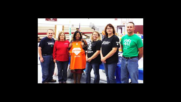 From left are Bill Million, state 4-H specialist; Vickie Taylor, 4-H program coordinator for Massac County; Dr. Peggy F. Bradford, Shawnee Community College president; Kristi Stout, 4-H youth development educator; Dena Wood, 4-H program coordinator for Alexander and Union counties; and Robin Mizell, 4-H program coordinator for Pulaski and Johnson counties. Shawnee Community College photo.