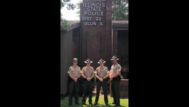 Illinois State Police District 22 has welcomed four new troopers: Chase Wiggs, Nicholas Sumner, Matthew Smithpeters and Derik Kraus. Photo provided.