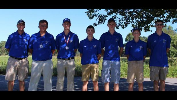 The A-J boys golf team placed third in a recent tournament. From left, coach Brandon Biersted, Levi Hall, Carson Reynolds, Aidan Frick, Andrew Ury, Peter Houser and Cole Lannom. Photo provided.