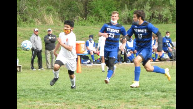 The Anna-Jonesboro/Cobden boys' co-op high school soccer team has wrapped up its spring season. A-J/Cobden players Nick McGrath, number 23 in dark uniform, and Beto Vaca Diez, number 17, and their teammates finished the season with a 10-3 record. The photo was taken during an April 8 A-J/Cobden home game against Murphysboro.