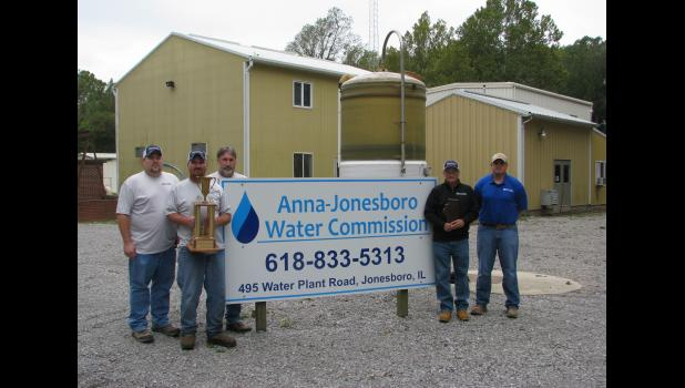 Those who keep the Anna-Jonesboro Water Commission plant in Union County operating 24 hours a day, seven days a week, include, from left, Eric Thornton, operator; Dana McKinney, operator/maintenance; David Gregge, operator; Ed Earnhart, superintendent; and Casey Johnson, assistant superintendent. Operator Martin Bunch could not be present for the picture.