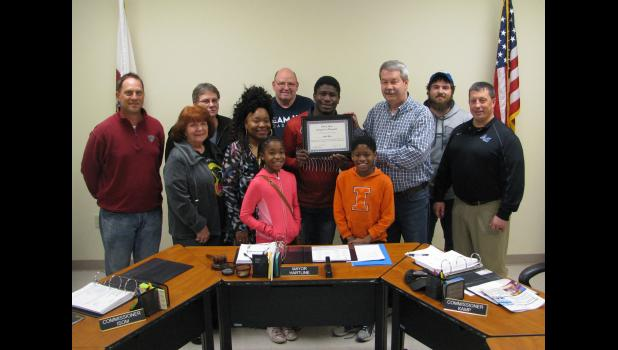 On behalf of the city and the city council, Anna Mayor Steve Hartline presented the certificate to Hart. Among those in attendance were Arieh Hart; his mother, Easter Smith; his sister and brother, Aseana Smith and Asaiah Smith; Mayor Hartline; Anna City Council members Brandon Bierstedt, Martha Ann Webb, David Isom and Al Kamp; A-JCHS assistant wrestling coach Chase Hargrave; and A-JCHS principal Brett Detering. Also present were friends Heather Barrow, Angie Hargrave and Reese Barrow.