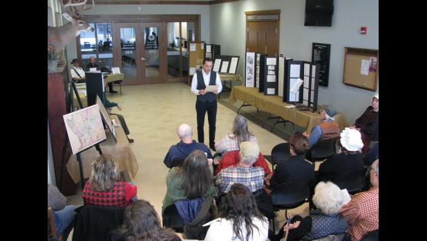 Union County State's Attorney Tyler R. Edmonds, standing at center, portrayed Illinois territorial Gov. Ninian Edwards at last Saturday afternoon's bicentennial celebration. The event was held at the Union County Courthouse in Jonesboro.
