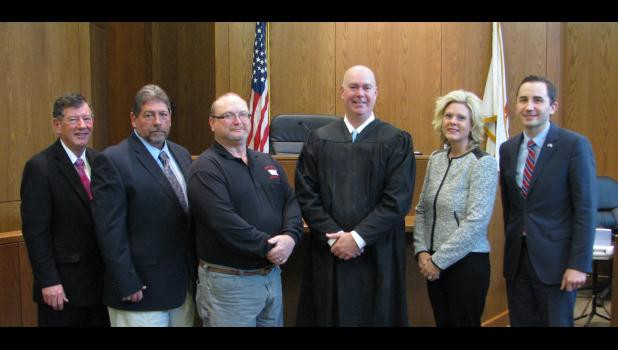 From left are Union County Coroner Phil Hileman, Union County Commissioner Dale Foster, Union County Commissioner Dale Russell, Judge Boie, Union County Circuit Clerk Tiffany Busby and Union County State's Attorney Tyler R. Edmonds.