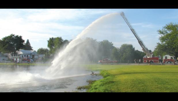 Water used during the training was pumped out of the pond at the Anna City Park. The water then was sprayed back into the pond.