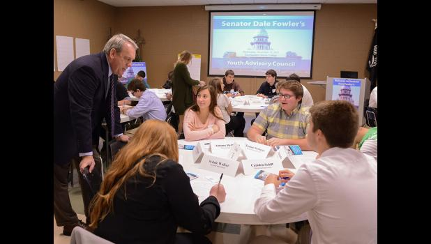 State Sen. Dale Fowler, R-Harrisburg, left, brought together area students for the first meeting of his new youth advisory council in Harrisburg. Fowler answered questions and discussed state government during the meeting. Photo provided.