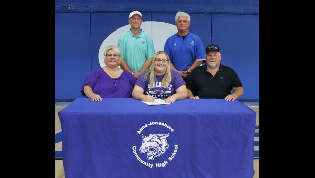 In the first row are, from left, Hailley's mother, Rhonda Abernathy; Hailley Abernathy; and Hailley's father, Scott Abernathy. In the second row are A-JCHS golf coach Brandon Bierstedt and A-JCHS athletic director Rick Livesay.
