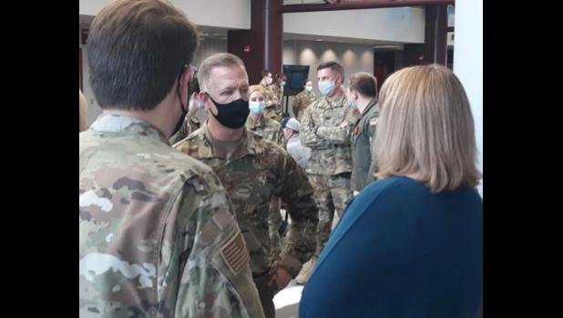 Illinois Army and Air National Guard Maj. Gen. Richard R. Neely visited a Southern Seven Health Department mass vaccination clinic at Shawnee Community College near Ullin on Wednesday, March 24. Southern Seven Health Department photo.