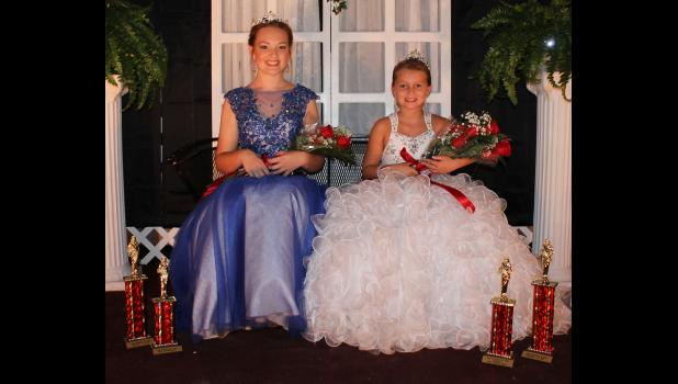 On the left is the Junior Miss Pulaski County Fair Queen 2016, Allison Wilburn. She is also Miss Congeniality. Kiara Aden, right, was crowned the Little Miss Pulaski County Fair Queen 2016. Photo by Lindsey Rae Vaughn.