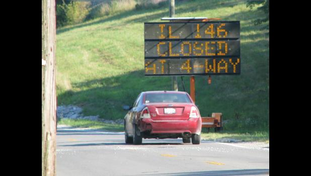 Electronic message signs are on display at several locations in the Anna and Jonesboro area. The signs are alerting motorists about the upcoming planned closing of the four-way stop in the heart of Anna.