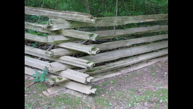 Twelve fence rails...