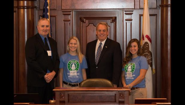 Pictured with State Sen. Dale Fowler, R-Harrisburg, are students Autumn McMahan and Campbell Neely, and chaperone Chris Boyd. Photo provided.