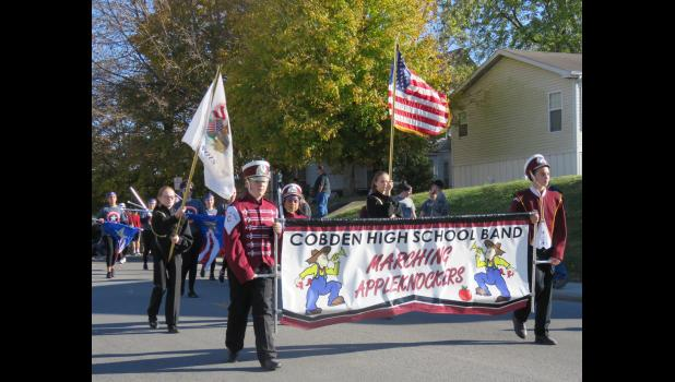The Cobden School Marching Appleknockers participated in the 2016 Veterans Day parade in Anna. File photo by Amber Skelton.