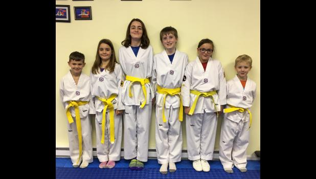 Yellow belts: Ethan DeVore, Cheyenne Greer, Lily Greer, Joshua Williams, Janie Ozment and Issacc Stevens.