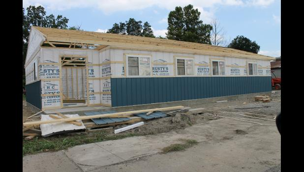 The new Tamms Village Hall is under construction on Front Street in Tamms. Village board member Clark Short said they hope to move into the new facility before winter. Photo by Lindsey Rae Vaughn.