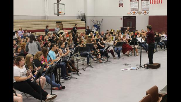 A regional high school band performed Thursday evening, Oct. 5, at Shawnee Community College near Ullin. Photo by Lindsey Rae Vaughn.