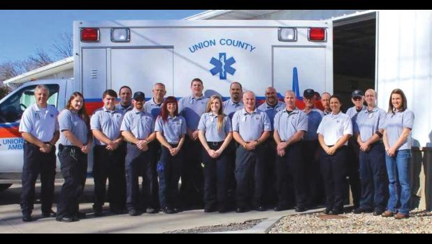 The staff of the Union County Ambulance Service, which has been honored by the American Heart Association. Photo provided.