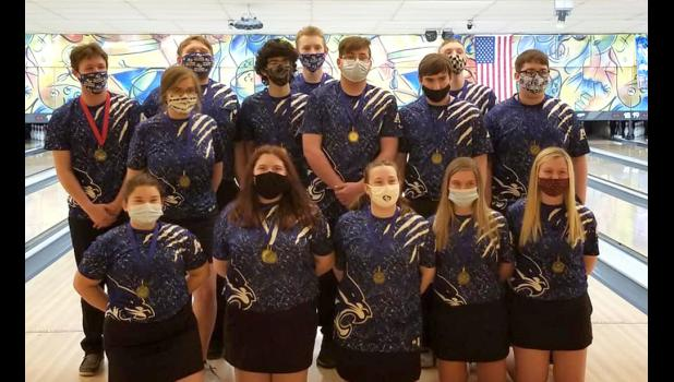 The Anna-Jonesboro Community High School boys' and girls' bowling teams both took home first place honors at the Southern Shootout tournament in Carterville. Members of the A-J teams include Addi Hadley, Madi Hawk, Whitley Quick, Avery Page, Olivia Myers, Aden Hopkins, Jaden Ebberts, Darrian Quick, Dylan Holderfield, Brandon Miller, Gabe Williams, Harrison Ford, Zach Miller and Andrew Odum. Photo provided.