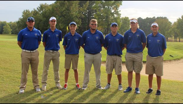 From left are assistant coach Matt Lang, Carson Reynolds, Peter Hauser, Levi Hall, Jax Watkins, Hunter Ralls and head coach Brandon Bierstedt.
