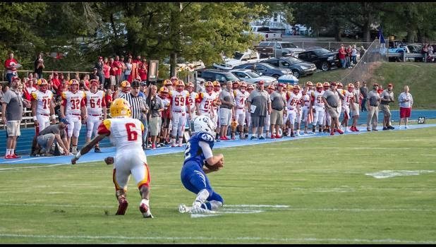 A-J's Noah Smith, number 12, intercepted a Murphysboro pass in Friday night's game.