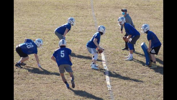 The Anna-Jonesboro Community High School football team started practice last week for its spring 2021 season. A-J is scheduled to open the season March 20 at Carterville. Photo by Benjamin Marxer.