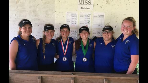 The A-J girls golf team also earned third place in their tournament. From left, Emma Ray, Meghan Smith, Chelsea Reinier, Tanner Stadelbacher, Hailley Abernathy, Connar Hadley. Photo provided.