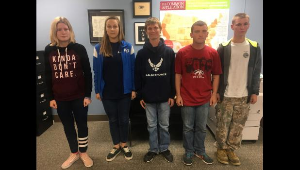 Five students at Anna-Jonesboro Community High School have enlisted in the military. From left are Taylor Hoekstra, Aspen Earnhart, Mitchell Tellor, Nate Frankell and Jacob Tellor.