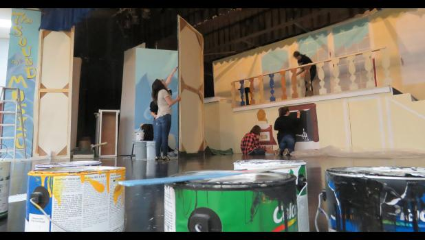 "The stage crew at Anna-Jonesboro Community High School has begun transforming last spring's set from ""Seussical the Musical"" to designs for the upcoming production of ""The Sound of Music."" Photo by Amber Skelton."