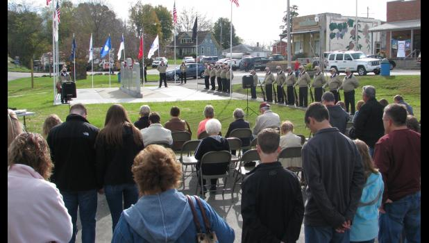 A large crowd was in attendance Saturday morning, Nov. 5, for a veterans ceremony which was held in downtown Alto Pass.