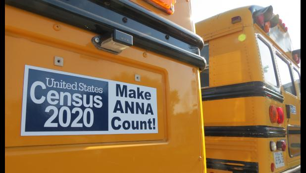 A message about the importance of the 2020 census appears on an Anna School District No. 37 bus.