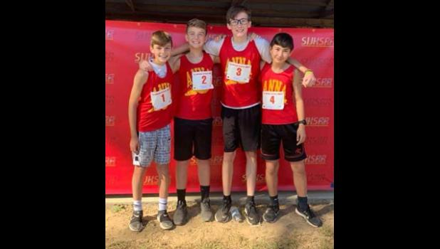 Anna Junior High School boys' cross country team members: from left are Zach Henry, Foster Needling, Josh Williams and Wyatt Wright. Photo provided.