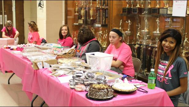 The Egyptian High School Beta Club held a bake sale in the lobby during the pink-out volleyball game. Photo by Lindsey Rae Vaughn.