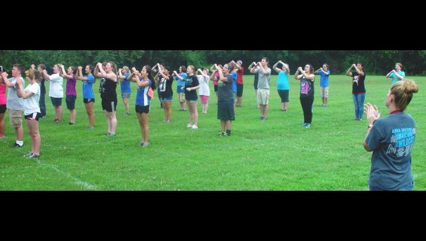 Band students practiced drills without their instruments on Tuesday, July 26. Photo by Amber Skelton.