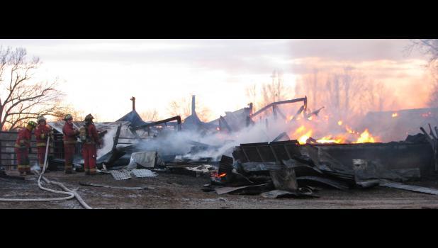 Fire destroyed a barn near Lick Creek Wednesday evening, Jan. 25.