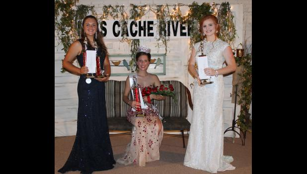 Miss Cache River court: From left are Miss Congeniality and second runner-up Gabriel Wrye, Miss Cache River Queen Katelynn Williams and first runner-up Mackenzie Conway.