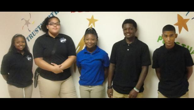 Cairo Junior High Beta Club presents the newly-elected officers. From left are Queen Brown, president; LaTayvia Little, vice president; Alana Young, secretary; Isiah Brown, reporter; and Dorian Howard chaplain. Photo provided.