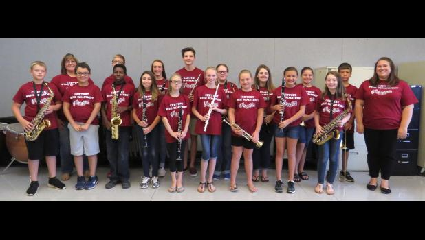 The new Century Music Department met for a two-day band camp Aug. 3-4. Music and science teacher Becca Yates, second row on the left, and incoming high school music teacher Katrina Walczyk, first row on right, led the camp. Photo by Amber Filbeck.