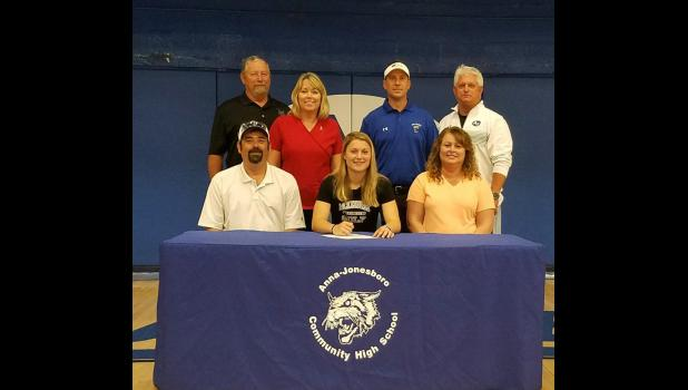 Anna-Jonesboro Community High School athletic director Rick Livesay reports that A-J senior Chelsea Reinier has signed with McKendree University in Lebanon, where she has received a golf scholarship. Reinier had already received a soccer scholarship from the university. Photo provided.