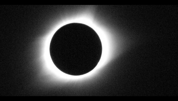 This was how totality appeared in downtown Cobden during Monday's total solar eclipse as the moon passed between the sun and the earth.