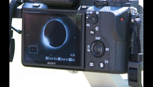 """Colin Godfrey of Hampshire, England, captured this image of the """"diamond ring"""" during Monday's total solar eclipse. Godfrey photographed the event while watching the eclipse in downtown Cobden."""
