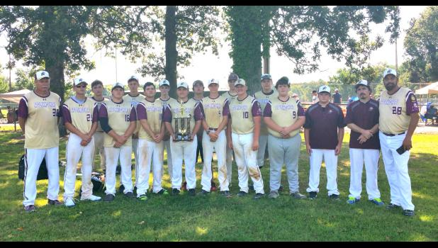 The Cobden American Legion baseball team displays its championship trophy. Photo provided.