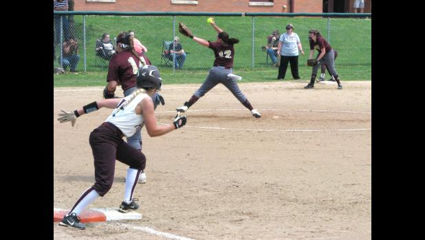 Host Cobden and Pope County played for an Illinois High School Association Class 1A softball regional tournament championship last Saturday afternoon. Pope County, which was at bat when the picture was taken, scored a 5-2 victory in the title game.