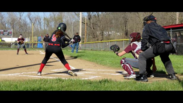 Dongola High School hosted Cobden High School for a softball game Wednesday afternoon, March 22. The Lady Appleknockers won the game by a score of 6-5. Photo by Amber Skelton.