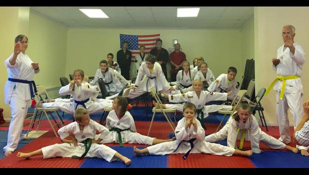 A chair straddle was presented by Tae Kwon Do students. Photo provided.