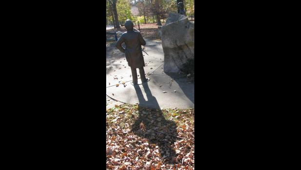 The statue of Mr. Douglas, the Little Giant, was casting a rather lengthy shadow on a sunny autumn afternoon.