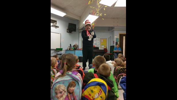 Dr. Seuss's Cat in the Hat recently visited Egyptian Elementary School in Tamms in celebration of the famed children's author's birthday on March 2. Photo provided.