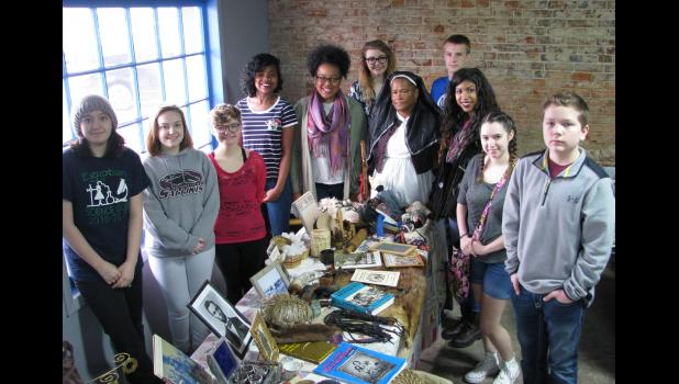 Some of teacher Darrel Dexter's history classes at Egyptian High School in Tamms listened to Marlene Rivero's at the Civil War Weekend. Along with Rivero, who was dressed in clothing from the time, are students Grace Klingeman, Amanda Bennett, Tristan Parker, Daneesha Carthell, Tyra Huff, Rileigh Petermichel, Jordan Reeves, Kacia Houston, Cheyenne Petzoldt and Trevor Smith.