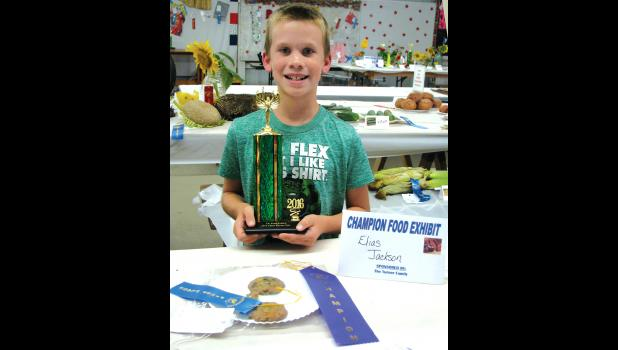 Elias Jackson, pictured, won first place in the Exhibit building for his cookie entry.